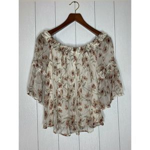 Lucky Brand Women's Size M Tan Floral Blouse Top